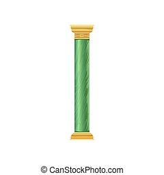 verde, antigüidade, coluna, vetorial, ilustração, ligado, um, fundo branco