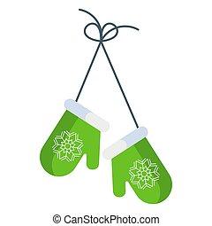 verde, apartamento, tricotado, inverno, mittens., ilustração, caricatura