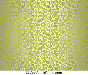 verde, &, argento, vendemmia, carta da parati