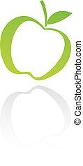 verde, arte de línea, manzana