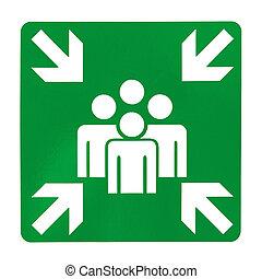 verde, asamblea, punto, señal