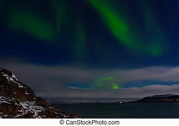 verde, aurora, sobre, a, oceano ártico