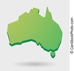 verde, australia, mappa, forma, icona