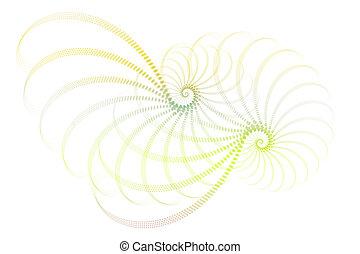 verde azul, blanco, fractal, diseño abstracto