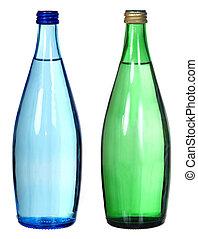 verde azul, branca, garrafas, isolado