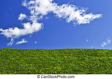 verde azul, campo de cielo