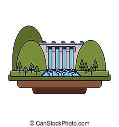 verde azul, energia, linhas, hidroelétrico
