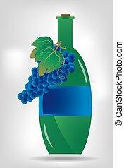verde azul, garrafa, uvas, vinho