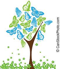 verde azul, mariposas, árbol