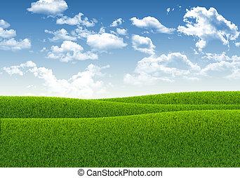verde azul, pasto o césped, cielo
