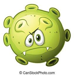 verde, bactérias, com, mal, rosto