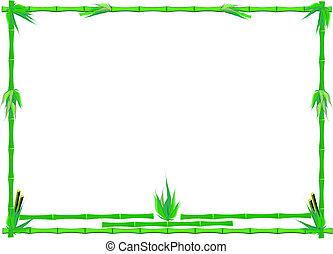 verde, bambú, marco, blanco