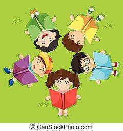verde, bambini, erba, libro, lettura