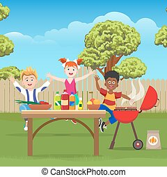 verde, bambini, picnic, giardino