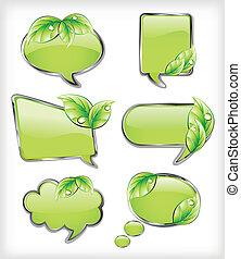 verde, bandeiras, com, leaf., vetorial, ilustração