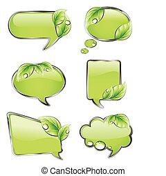 verde, bandeiras, com, leaf., vetorial