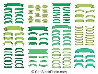 verde, bandeiras, grande, jogo, bonito, em branco, decoração, fitas