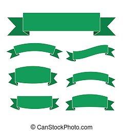 verde, bandeiras, jogo, bonito, em branco, decoração, fitas