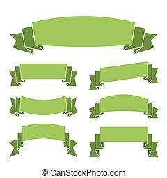 verde, bandeiras, jogo, decoração, fitas