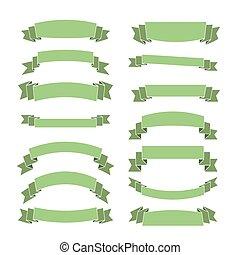 verde, bandeiras, jogo, em branco, fitas