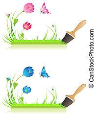 verde, bandera, con, brocha, pasto o césped, mariposa, y, flores