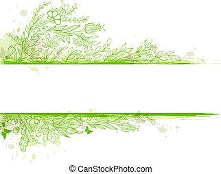 verde, bandera, con, flores, y, hojas