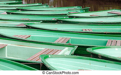 verde, barco de madera