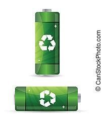 verde, baterías, conjunto, con, reciclaje