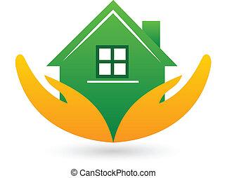 verde, beni immobili, casa, logotipo
