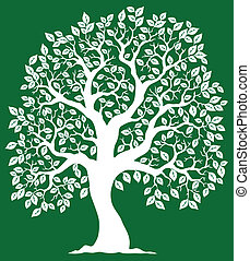 verde bianco, 2, albero, fondo