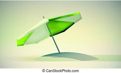 verde bianco, umbrella., spiaggia