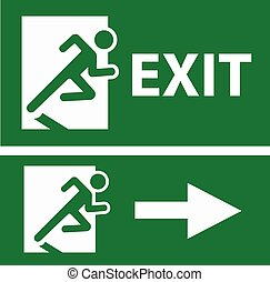 verde bianco, uscita, segnale emergenza