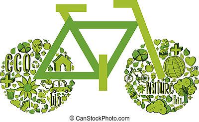 verde, bicicleta, ambiental, ícones