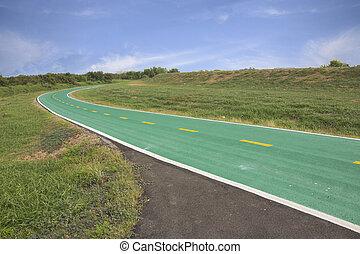 verde, bicicleta, pista