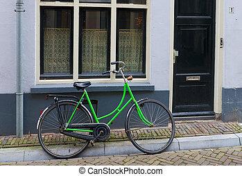 verde, bicicleta