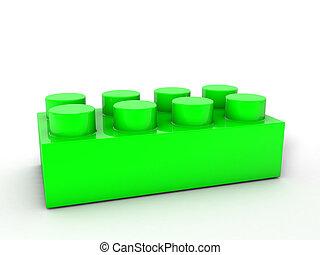 verde, blocco, lego