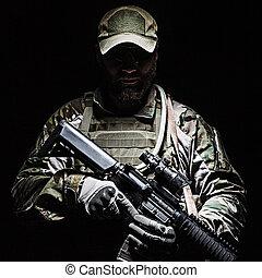verde, boina, nosotros ejército