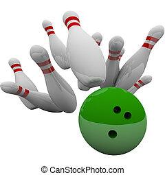 verde, bola de bowling, notable, alfileres, ganando, éxito, juego