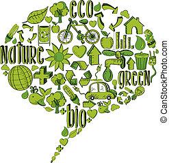 verde, bolha, ambiental, ícones