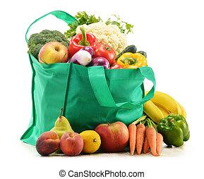 verde, bolso de compras, con, tienda de comestibles, productos, blanco, plano de fondo