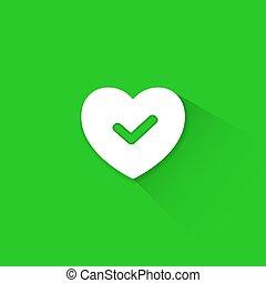 verde, bom, coração, ícone