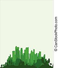 verde, borda, cidade