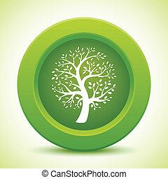 verde, botón, árbol