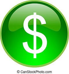 verde, botón, dólar
