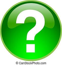 verde, botón, pregunta