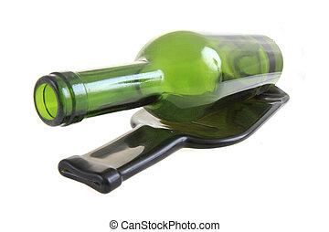 verde, botella de vidrio, con, uno, plano, botella