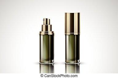 verde, bottiglie, cosmetico