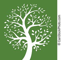 verde branco, árvore, fundo, ícone