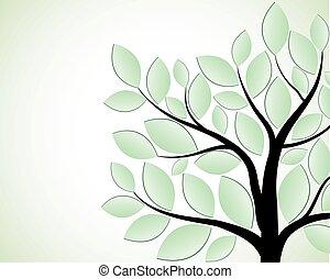 verde branco, árvore, isolado, fundo