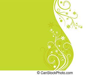 verde branco, flor, vetorial, fundo
